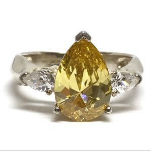 925 Sterling Silver Yellow CZ Ring
